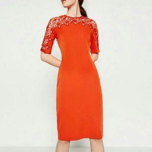 Zara Lace Detail Midi dress
